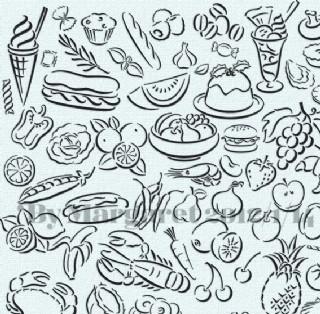 簡約白描美食圖案位圖圖片
