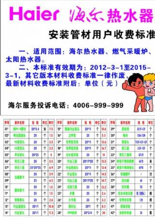 海爾電熱水器安裝收費標準圖片