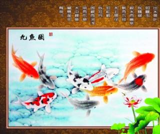 九鱼图 连年有余图片