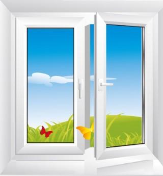 窗戶外的藍天白云綠野蝴蝶圖片