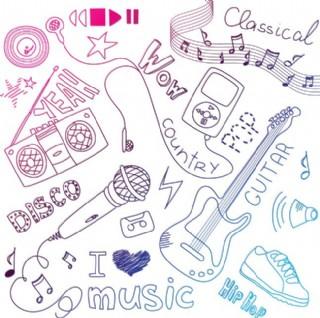 各式音樂器材手繪圖