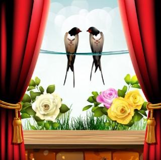 窗外外的夢幻花紋花朵 玫瑰 兩只小鳥圖片