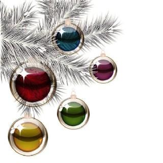 矢量精美圣誕彩色吊球